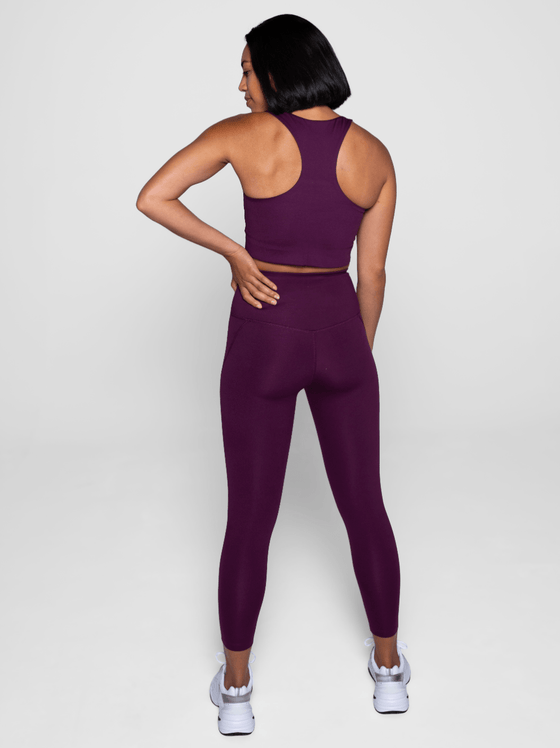 Girlfriend Compressive High Rise Leggings in Plum