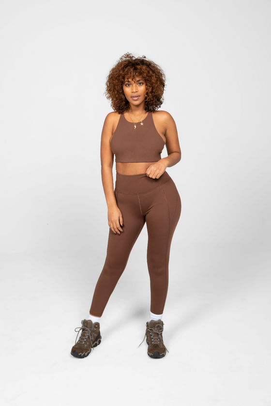 Recycled PET Topanga Sports Bra in Valley Brown from Girlfriend Collective