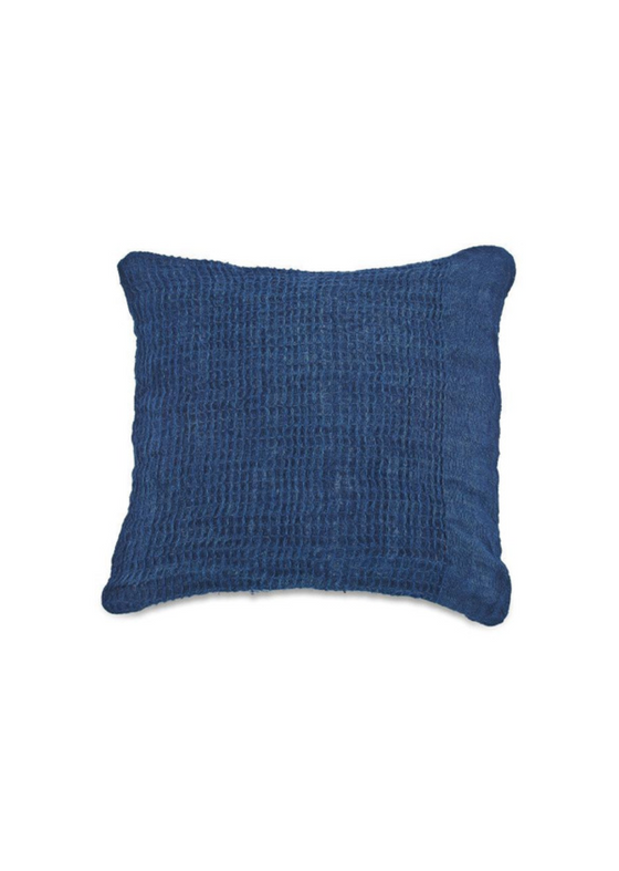 Natural Linen Kadin Square Cushion Cover in Indigo from Nkuku