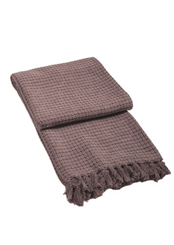 Cotton Jacquard Throw with Tassels in Orchid Purple from Namaste