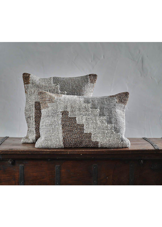 Natural Cotton & Wool Harti Block Design Rectangle Cushion Cover from Nkuku