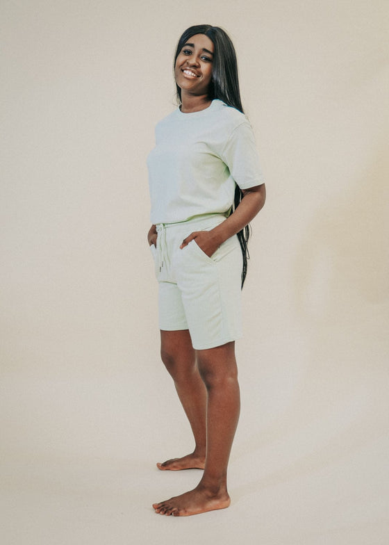 Unisex Organic Cotton 90's Jogger Shorts in Stem Green from Sancho's in Exeter, Devon, UK.
