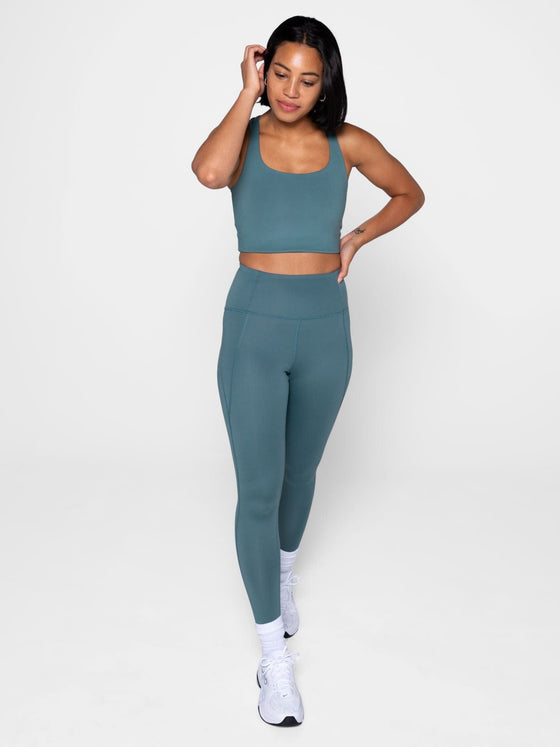 Recycled PET Compressive High Rise Leggings in Jade from Girlfriend Collective