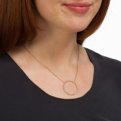Scream Pretty - Gold and Sparkle Open Circle Necklace-Necklace-Sancho's Dress