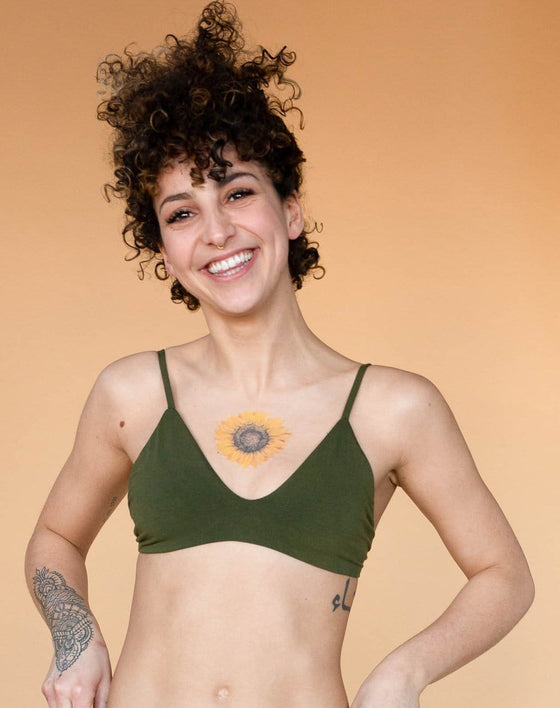 Bamboo Stella Low Cut Bra in Olive Green from Hara