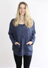 Linen Top with Sleeves-Sancho's Dress