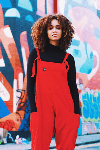 Luna Twill Cotton Dungarees in Red-Dungarees-Sancho's Dress