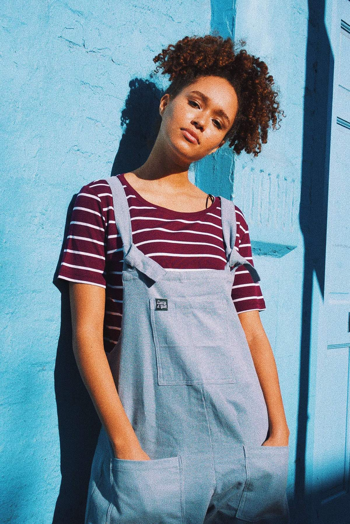 'The Original' Corduroy Dungarees in Ice Blue-Dungarees-Sancho's Dress