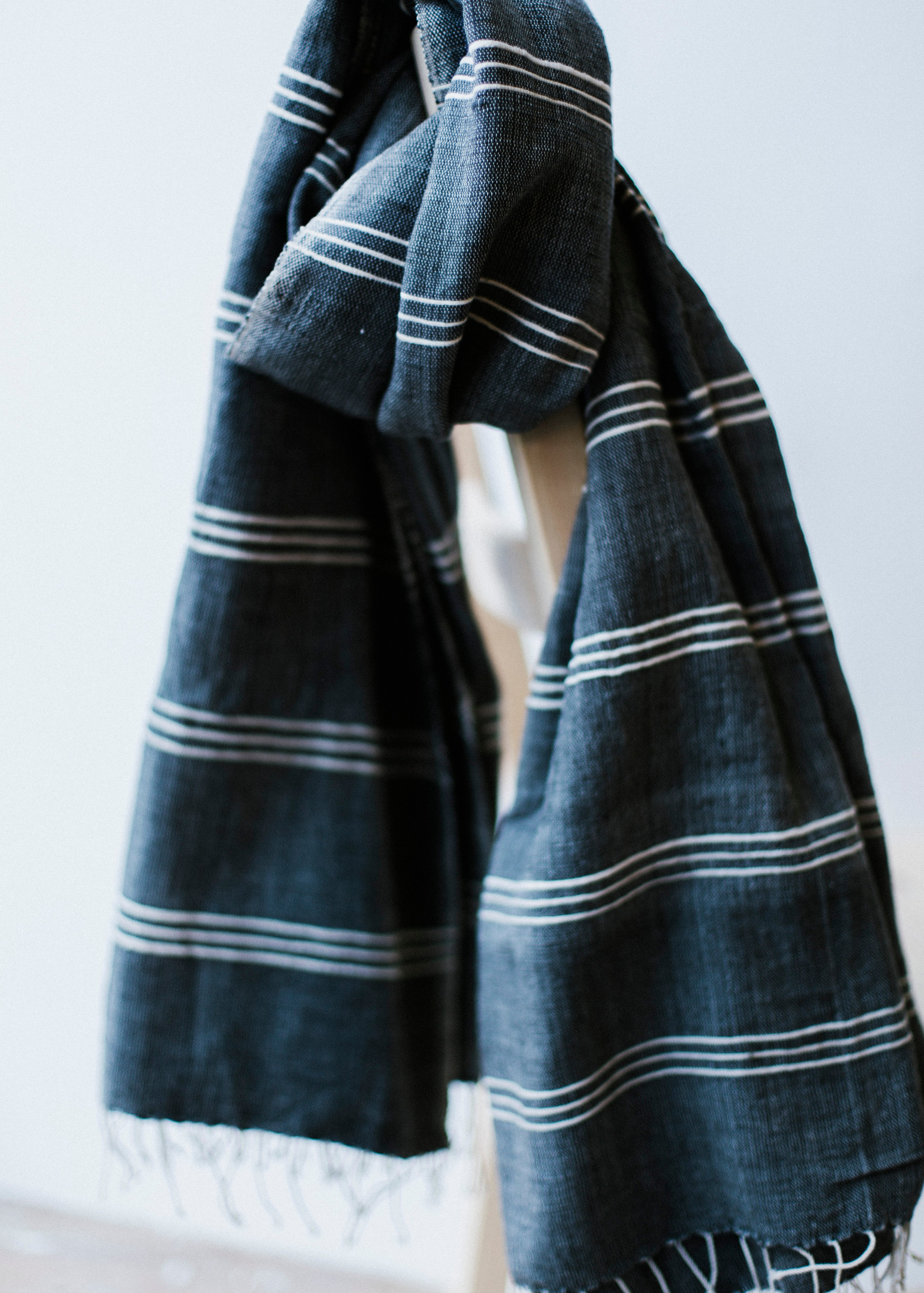 SHEBELLE SCARF Navy/Natural-scarves-Sancho's Dress