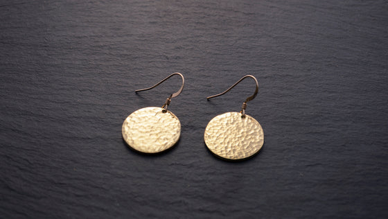Janoni Hammered Brass Medallion Earrings