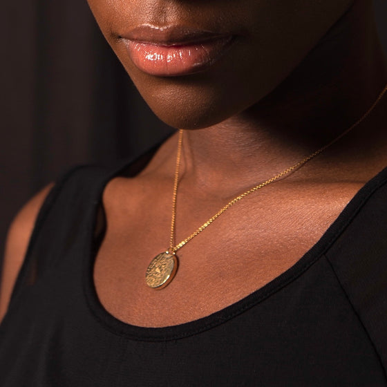 Recycled Brass Janoni Hammered Brass Medallion Pendant Necklace from Yala Jewellery