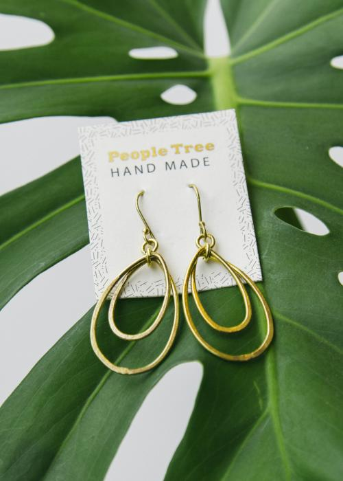 Oval Drop Earrings in Brass-Earrings-Sancho's Dress