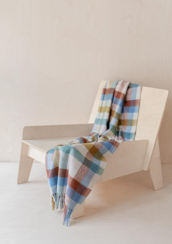 Ethically Made Recycled Wool Knee Blanket in Rainbow Check from Tartan Blanket Co at Sancho's in Exeter, UK