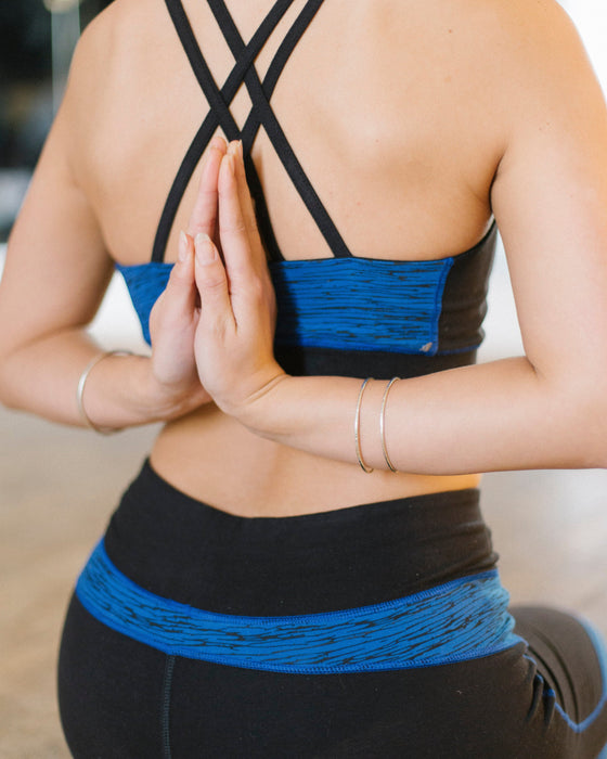 Yoga Abstract Cross Back Crop Top in Blue-Top-Sancho's Dress