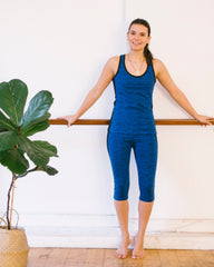 Yoga Abstract Cropped Leggings in Blue-Leggings-Sancho's Dress