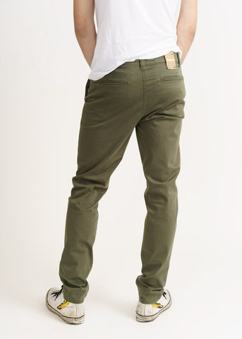 Men's Chino Olive Green-Trousers-Sancho's Dress