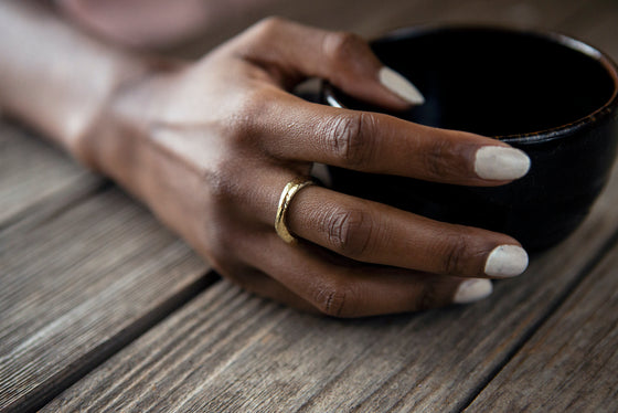 Recycled Brass Maseno Textured Ring from Yala Jewellery