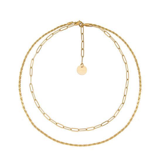 Layered Chain Necklace in Gold