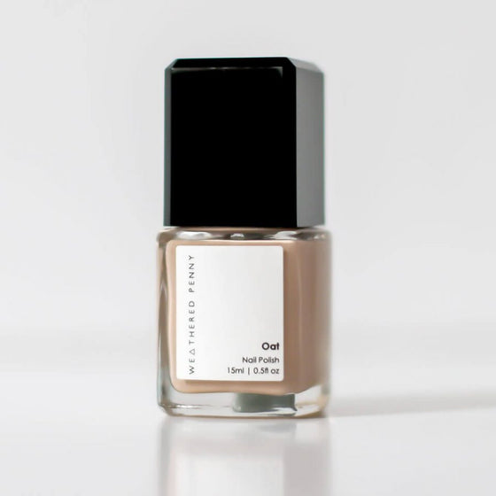 Toxic free, cruelty free, vegan friendly Nail Polish from A Weathered Penny in Oat Nude Colour