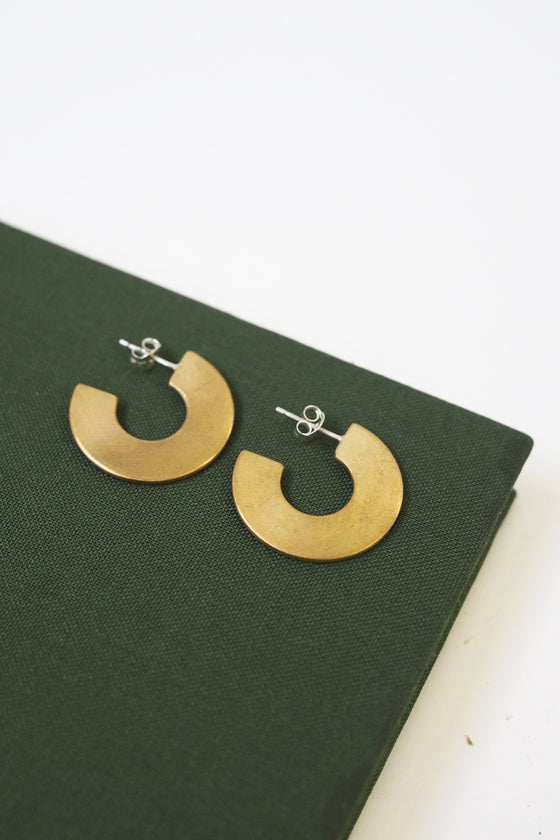 Ethically Made Astrid Silver and Brass Flat Hoop Earrings from Roake