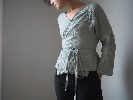 Ethically Made Long Sleeve Winnie Wrap Top in Sage Textured Cotton from Roake
