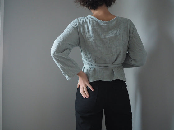The Long Sleeve Winnie Wrap Top - Sage Textured Cotton