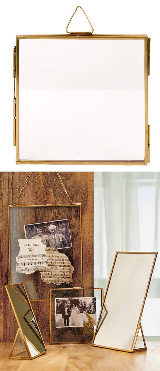 Antique Brass Finish Hanging Photo Frame - Square