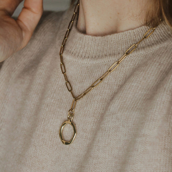 Handmade 18k Gold Plated Chunky Ember Necklace in Gold Eco friendly Statement Jewellery from A Weathered Penny