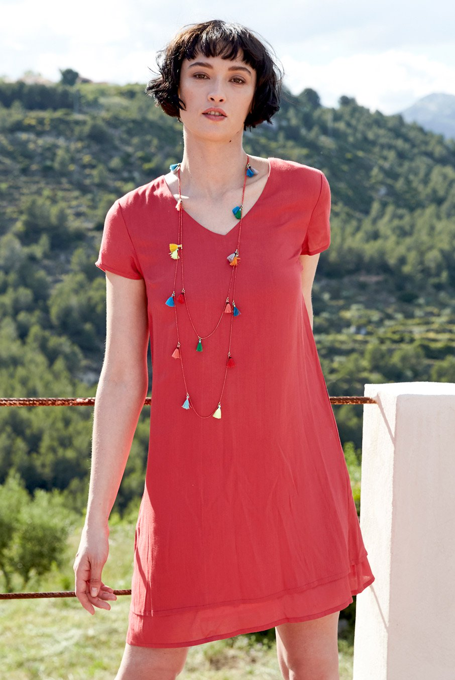 Plain Layer Dress in Cherry-Dress-Sancho's Dress