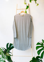 Stripe Long Sleeve Nightdress in Grey Melange-Dress-Sancho's Dress