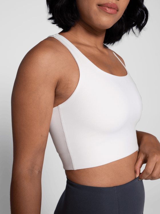 Girlfriend Paloma Sports Bra in Ivory