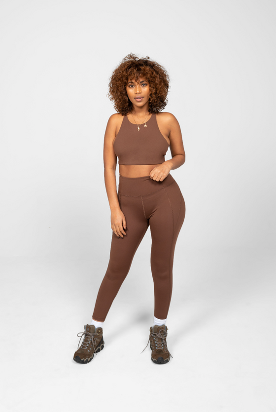 Recycled PET Compressive High Rise Leggings in Valley Brown from Girlfriend Collective