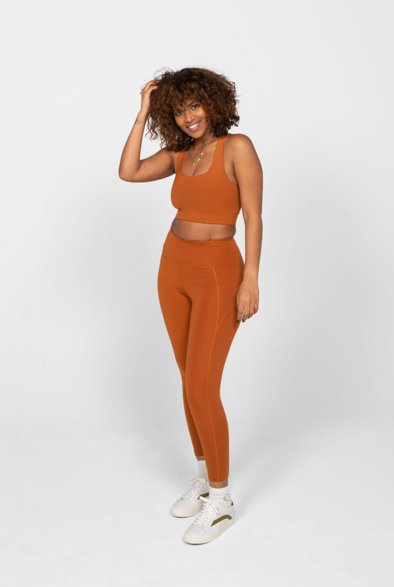 Recycled PET Paloma Sports Bra in Trail Orange from Girlfriend Collective
