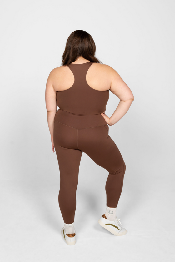 Recycled PET Paloma Sports Bra in Valley Brown from Girlfriend Collective