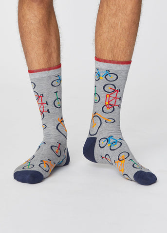 Breathable Bicycle Print Socks in Mid Grey Marle-Socks-Sancho's Dress