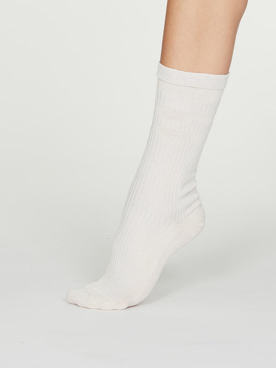Modal Circulation Socks in Vanilla Cream White from Thought