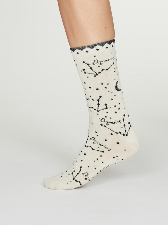 Bamboo Zodiac Star Sign Socks in Aquarius Cream UK 4-7 from Thought