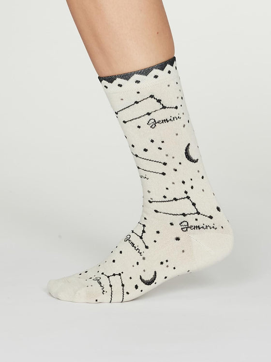 Bamboo Zodiac Star Sign Socks in Gemini Cream UK 4-7 from Thought