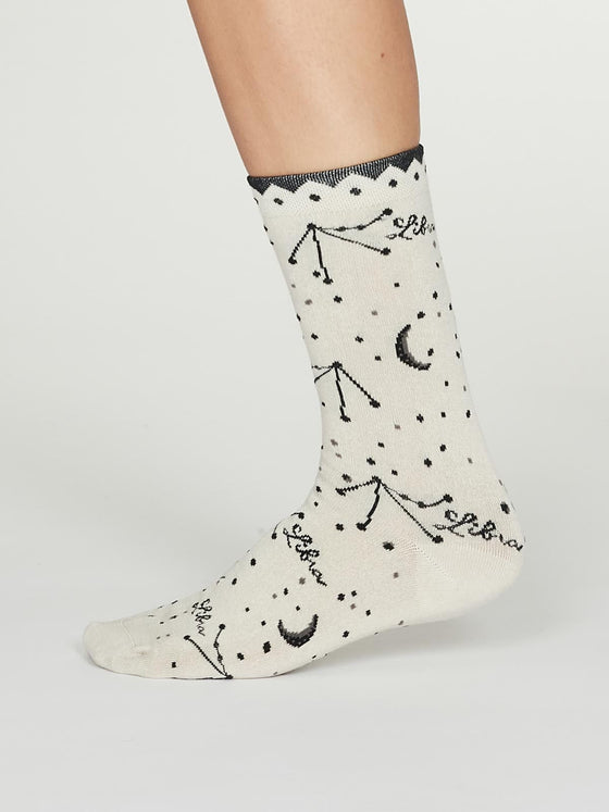Bamboo Zodiac Star Sign Socks in Libra Cream UK 4-7 from Thought