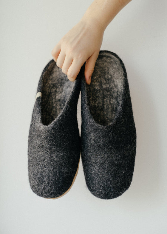 Ethically Made Pure Wool Cosy Black Slippers from Egos