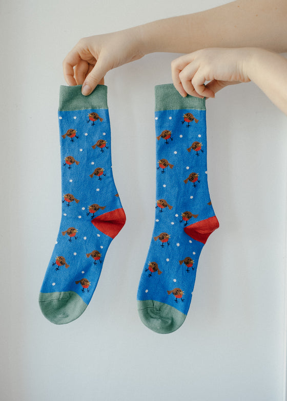 Xmas Blue Robin Bamboo Socks from Doris & Dude