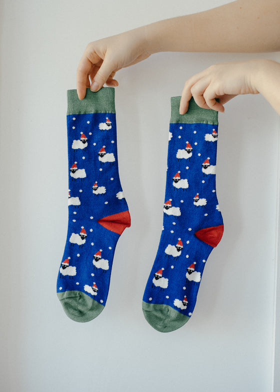 Xmas Blue Sheep Bamboo Socks from Doris & Dude