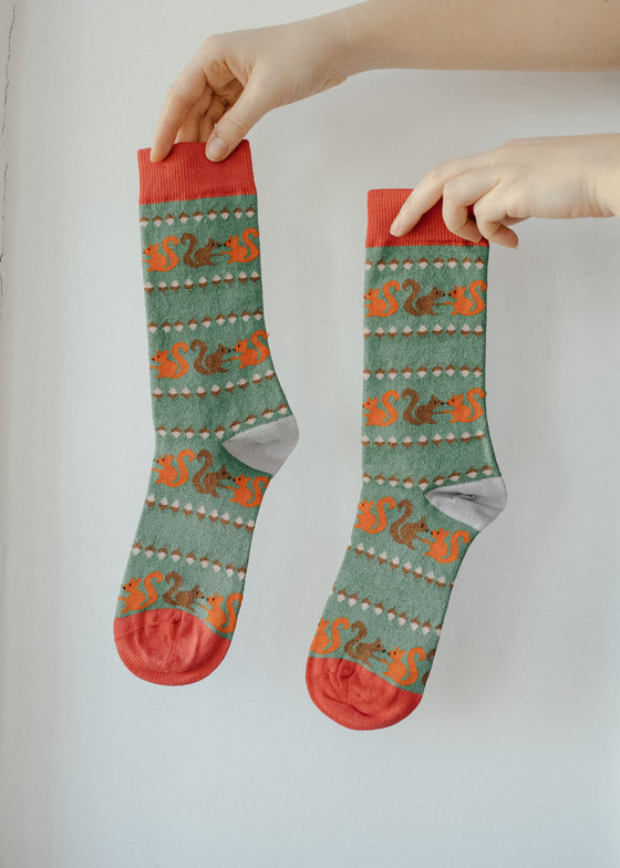 Green Squirrel Bamboo Socks from Doris & Dude