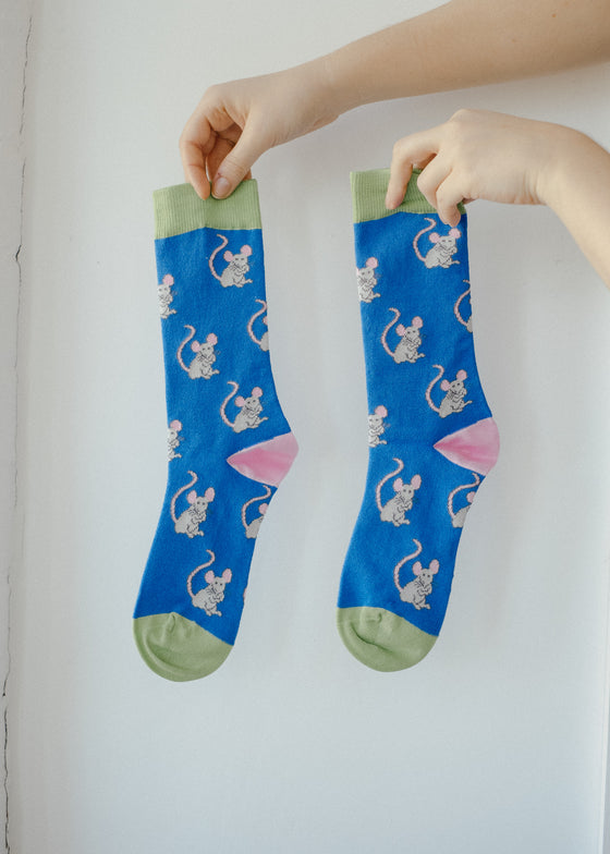 Blue Mouse Print Bamboo Socks from Doris & Dude