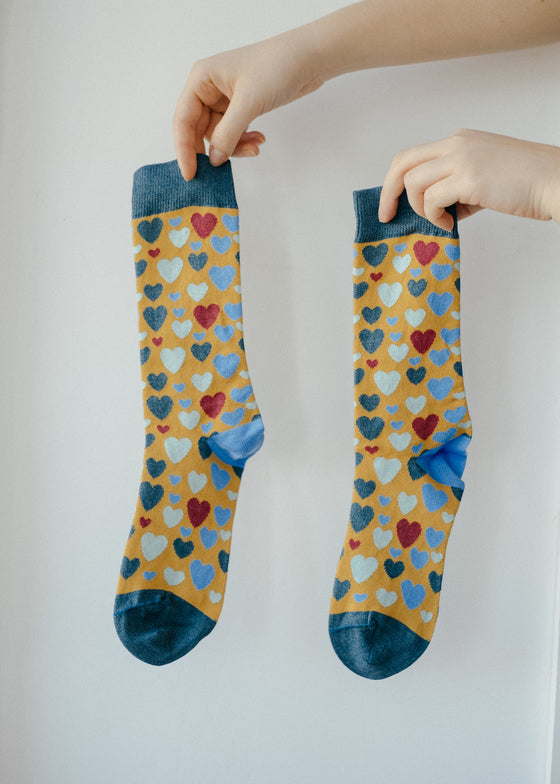 Gold Heart Print Bamboo Socks from Doris & Dude