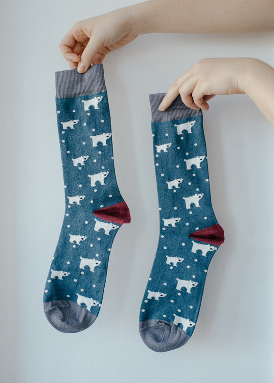 Teal Polar Bear Bamboo Socks from Doris & Dude