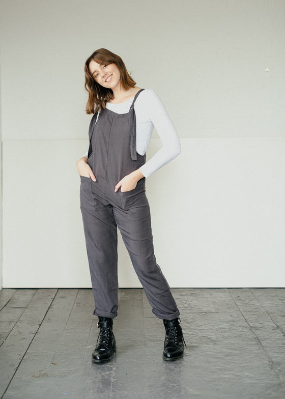 Fair Trade Natural Organic Tencel Linen Dungarees in Seattle Sky Grey