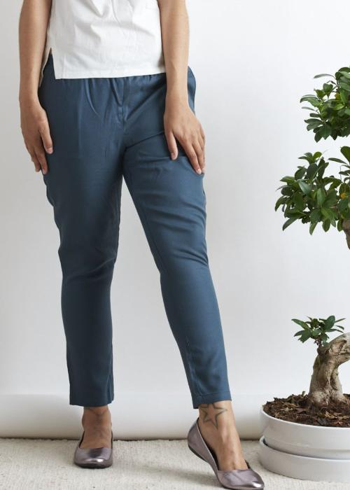 Vera Petrol Trousers-Trousers-Sancho's Dress