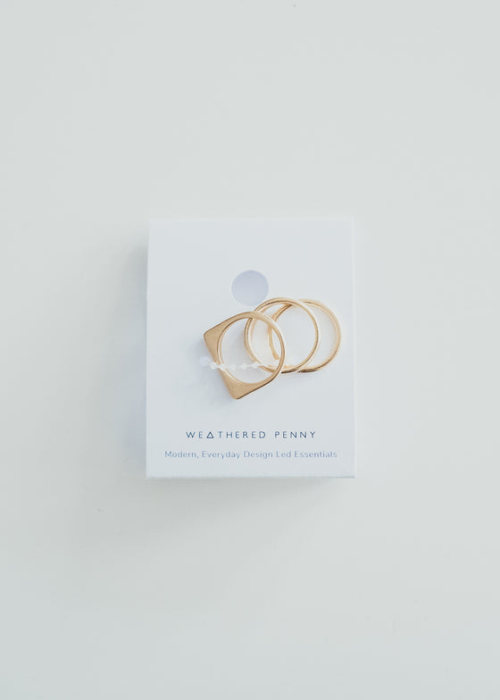 Ethically Handmade Flat Square Set of Rings in Gold from A Weathered Penny