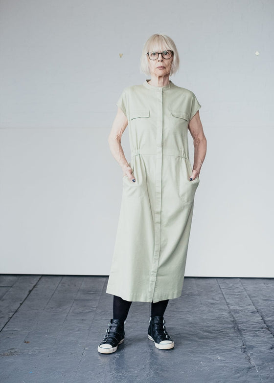 Organic Cotton Mix Kjaalvor Midi Shirt Dress in Pistachio Green from Armedangels